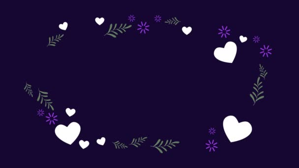 Animation of heart and leaf. Valentine day collection