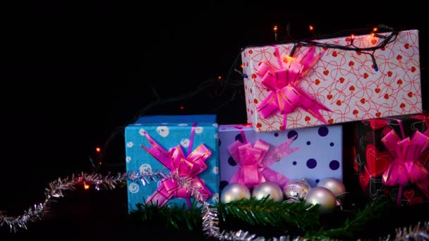 Footage of ornament chirstmas with gift boxes christmas collection