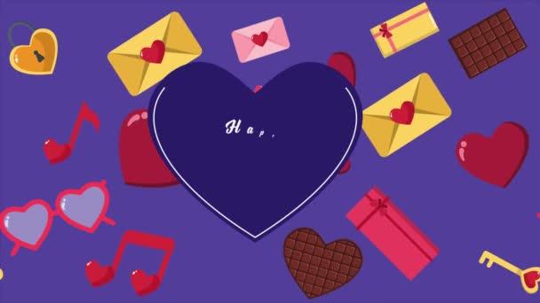 Animace ze srdce, čokoláda, obálka a dárkové krabice pro Valentine den kolekce
