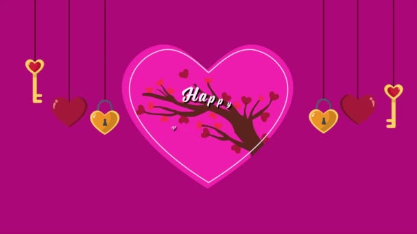 Animation of key heart with love tree for Valentine greeting collection