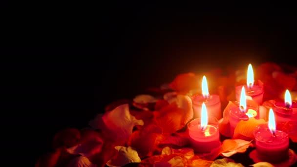 Blume Blütenblätter Filmmaterial für den Valentinstag mit Kerze Sammlung