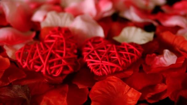 Gruß Valentine mit Filmmaterial Dekoration Herz und Rosenblüten-Sammlung