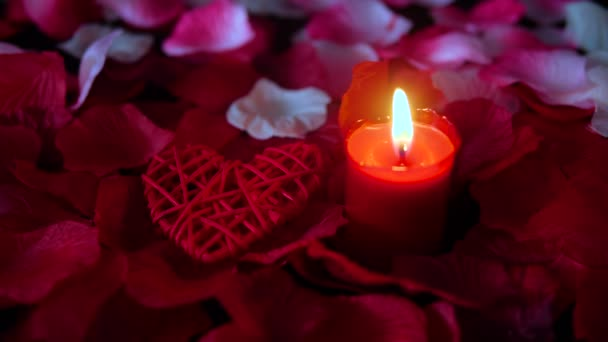 Footage of rose petals, candle burning and decoration valentine. Valentine day collection