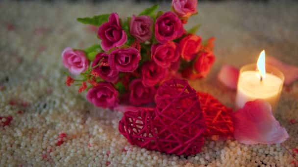 Valentine day with footage decoration heart, candle burning and bouquet collection