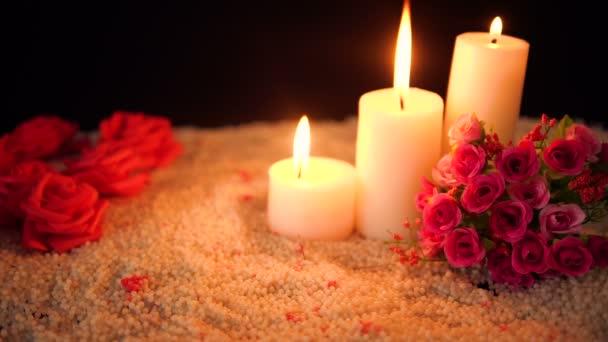 Aufnahmen von Blume Rose, Kerze und Dekoration Valentinstag Kollektion