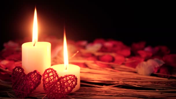 Decoration of footage Valentine day with candle burning and petals collection