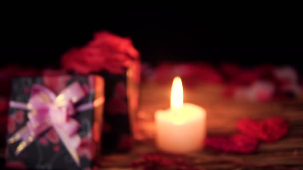 Felvételeket blur, díszdobozok, szirmok és gyertya égett. Valentin napi kollekció
