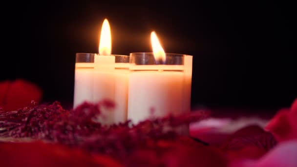 Happy Valentine day with footage of candle burning collection
