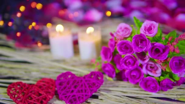 Dating Valentine day with bouquet, candle burning footage collection
