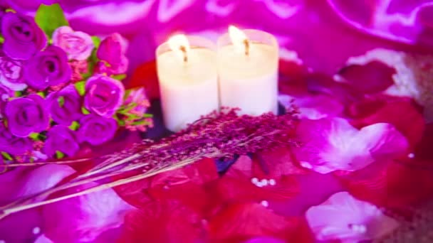Footage motion of pink roses, candle burning and decoration Valentine collection