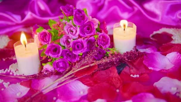 Pink rose és felvételeket gyűjtemény égő gyertya dekoráció Valentin