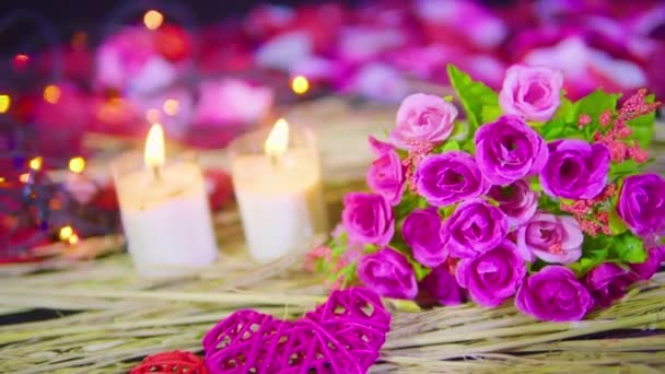 Footage motion of decoration Valentine with bouquet and candle burning collection