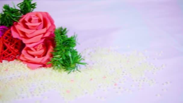 Felvételeket mozog Rózsa virág és dekoráció Valentin gyűjtemény