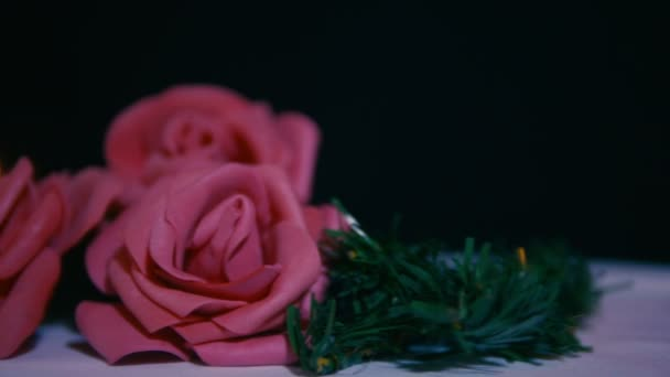 Footage of move flower rose and candle burning. Valentine day collection