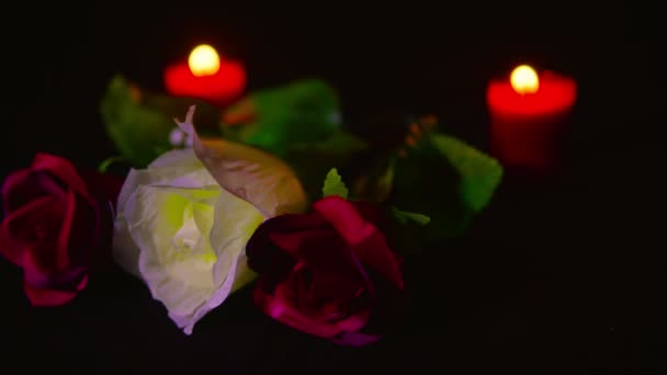 Footage of red and pink roses flower with red candle burning. Valentine day collection