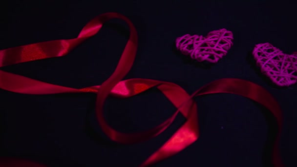 Footage of ribbon and decoration heart. Valentine day collection