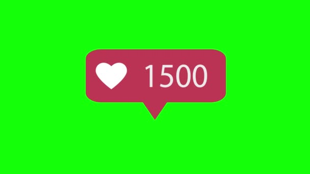 Animation 4K. Pink Like Icon On Green Background. Like Counting for Social Media. 1-5000 Likes.