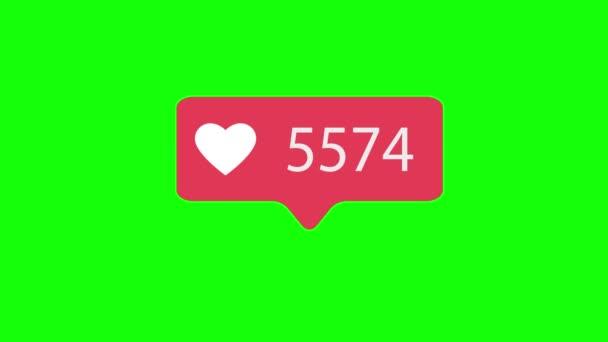 Růžová jako ikonu na zelené barvy pozadí. Jako pro sociální média 1-1000000 rád. 4k video.