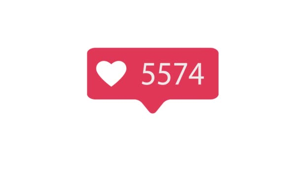 Pink Like Icon On White Background. Like Counting for Social Media 1-1000000 Likes. 4K video.