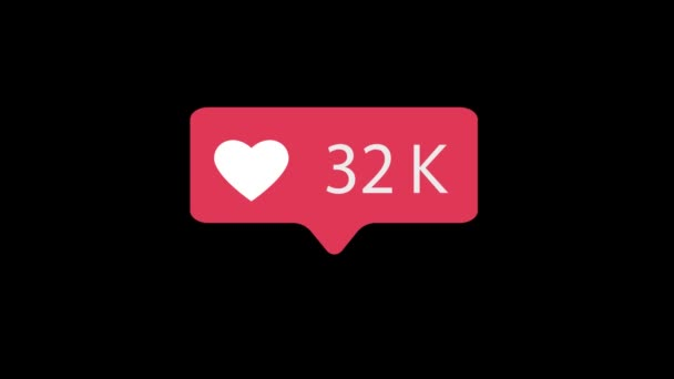 Pink Like Icon On Black Background. Like Counting for Social Media 1-1m Likes. 4K video.