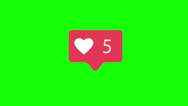 Pink Like Icon On Green Chroma Key Background. Like Counting for Social Media 1-10 Likes. 4K video.