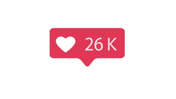 Pink Like Icon On White Background. Like Counting for Social Media 1-10m Likes. 4K video.