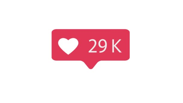 Pink Like Icon On White Background. Like Counting for Social Media 1-300K Likes. 4K video.