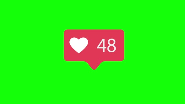 Pink Like Icon On Green Chroma Key Background. Like Counting for Social Media 1-500 Likes. 4K video.
