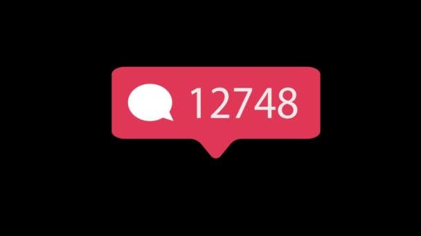 Růžový komentář ikona na černém pozadí. Komentář pro sociální média počítat 1-100000 komentáře. 4k video.
