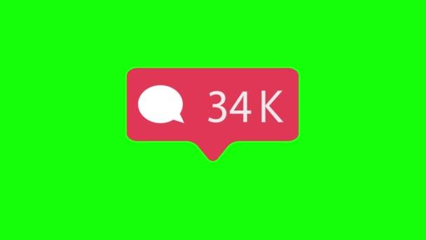 rosa Kommentarsymbol auf grünem Chroma-Schlüsselhintergrund. Kommentar zählen für soziale Medien 1-3m Kommentare. 4k-Video.