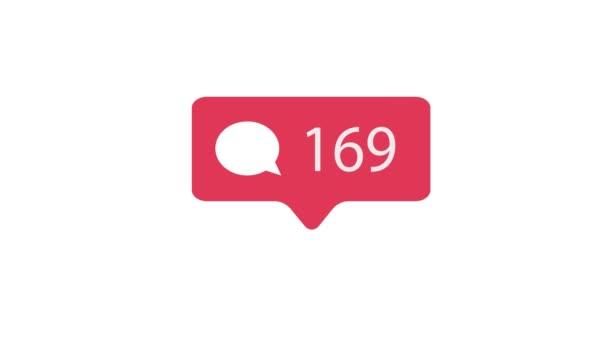 Růžový komentář ikona na bílém pozadí. Komentář pro sociální média počítat 1-1000 komentářů. 4k video.