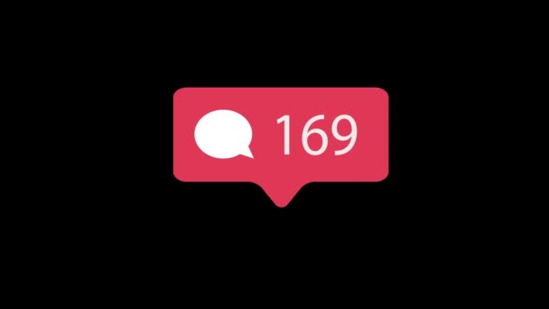 Růžový komentář ikona na černém pozadí. Komentář pro sociální média počítat 1-1000 komentářů. 4k video.