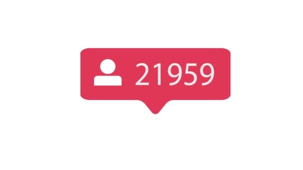 Následovník ikona na bílém pozadí. Stoupenci počítání pro sociální média 1-100000. 4k video.