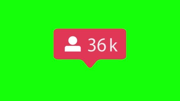 Ikona běžce na pozadí zeleného Chroma. Stoupence na sociální média 1-3m. 4k video.