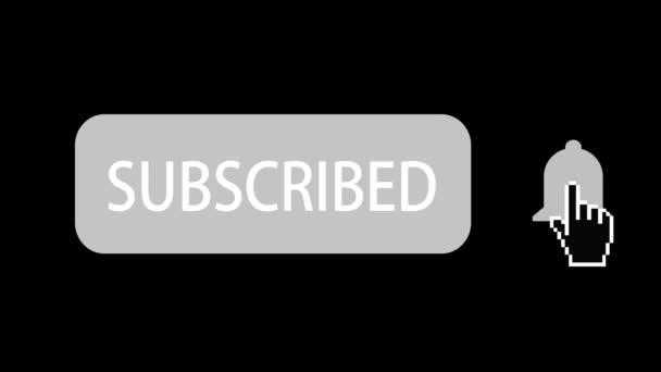 Animation des sozialen Netzwerks. Abonnement-Taste und Klingelbenachrichtigung auf schwarzem Hintergrund.