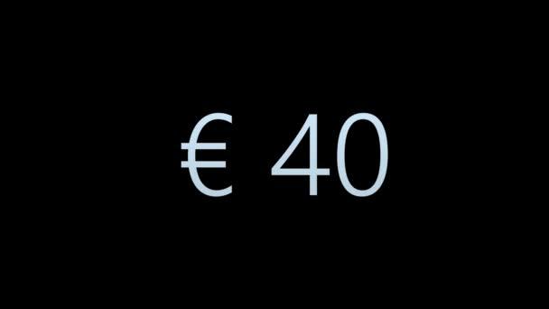 Színes animáció az Euro Counter. Pénznem Counter izolált fekete háttér. Animáció az Alpha Channel-nel