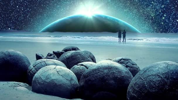 Csodálatos fantasztikus föld és a világegyetem galaxis animáció a Hold