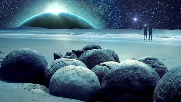 Úžasné, Fantastické země a vesmír galaxie animace s měsícem