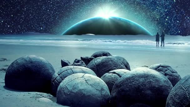 Amazing Fantastic Earth and Universe Galaxy Animation with Moon