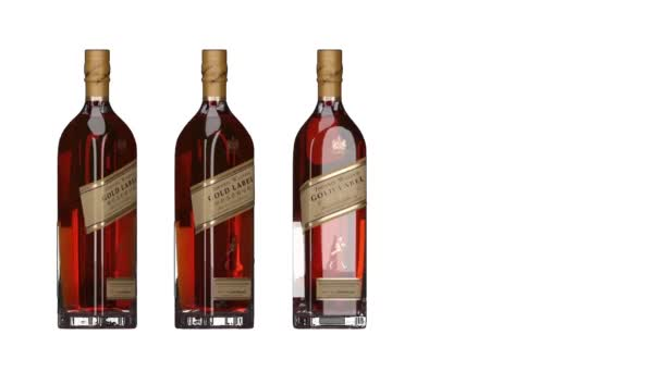 London. England. May 26. 2018. Johnnie Walker Gold Label Reserve. Johnnie Walker Whiskey. Animated bottle and bottles. Rotating bottles. Whiskey bottle animation. Hull HD