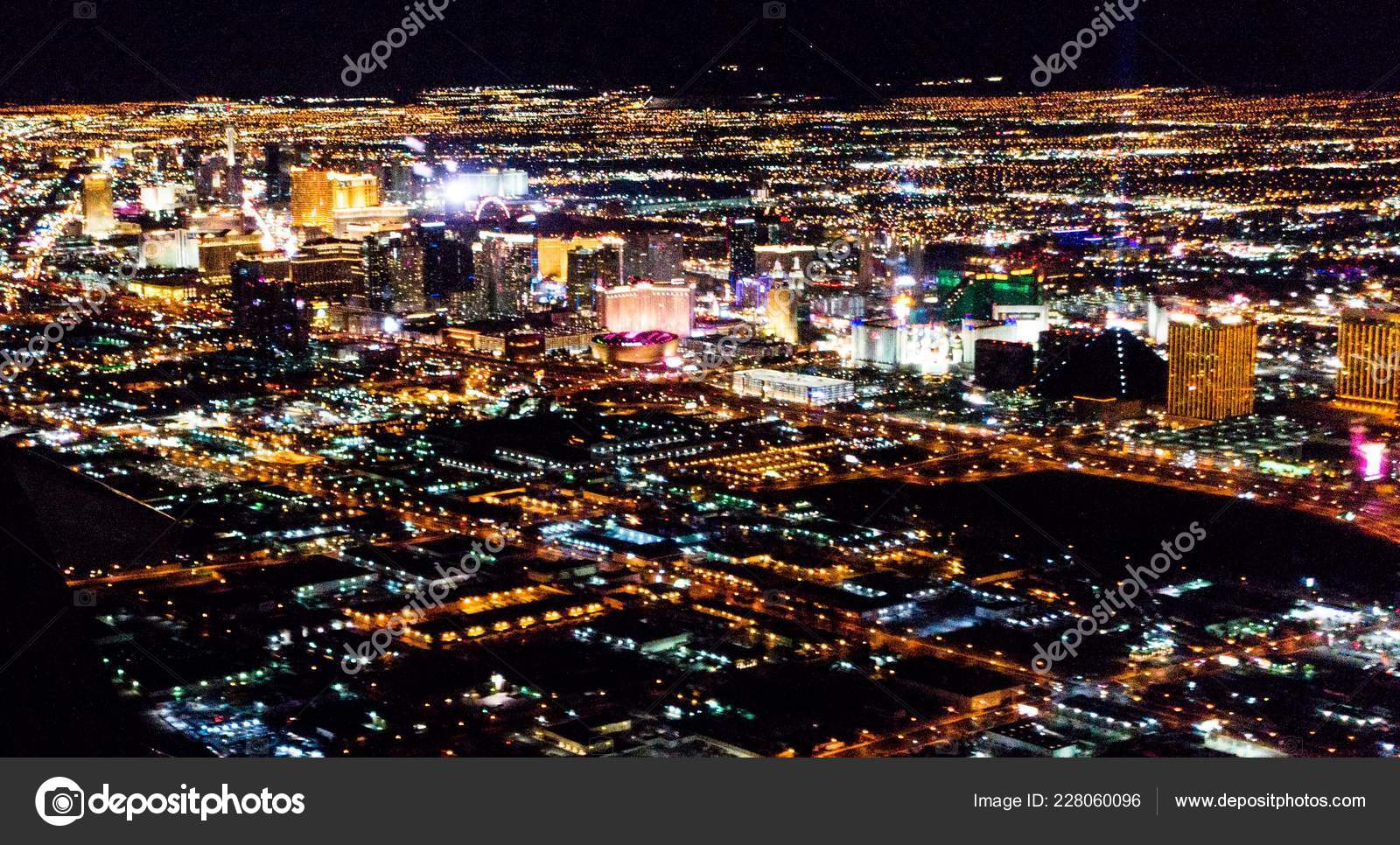 Las Vegas City Lights Airplane Night Stock Photo