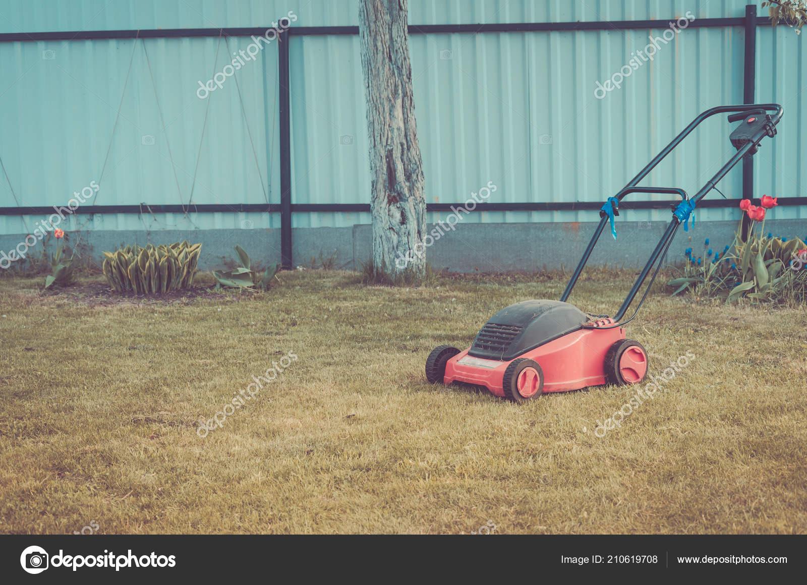 Rasenmaher Auf Einem Grunen Rasen Mahen Rasen Auf Dem Rasen