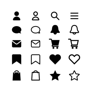 Web site online store or social media icons shopping cart profile search menu notifications bell save messages like heart bag star black icon pack flat vector EPS 10 icon