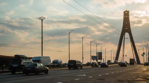 4K Time-lapse Sunset Bridge Traffic