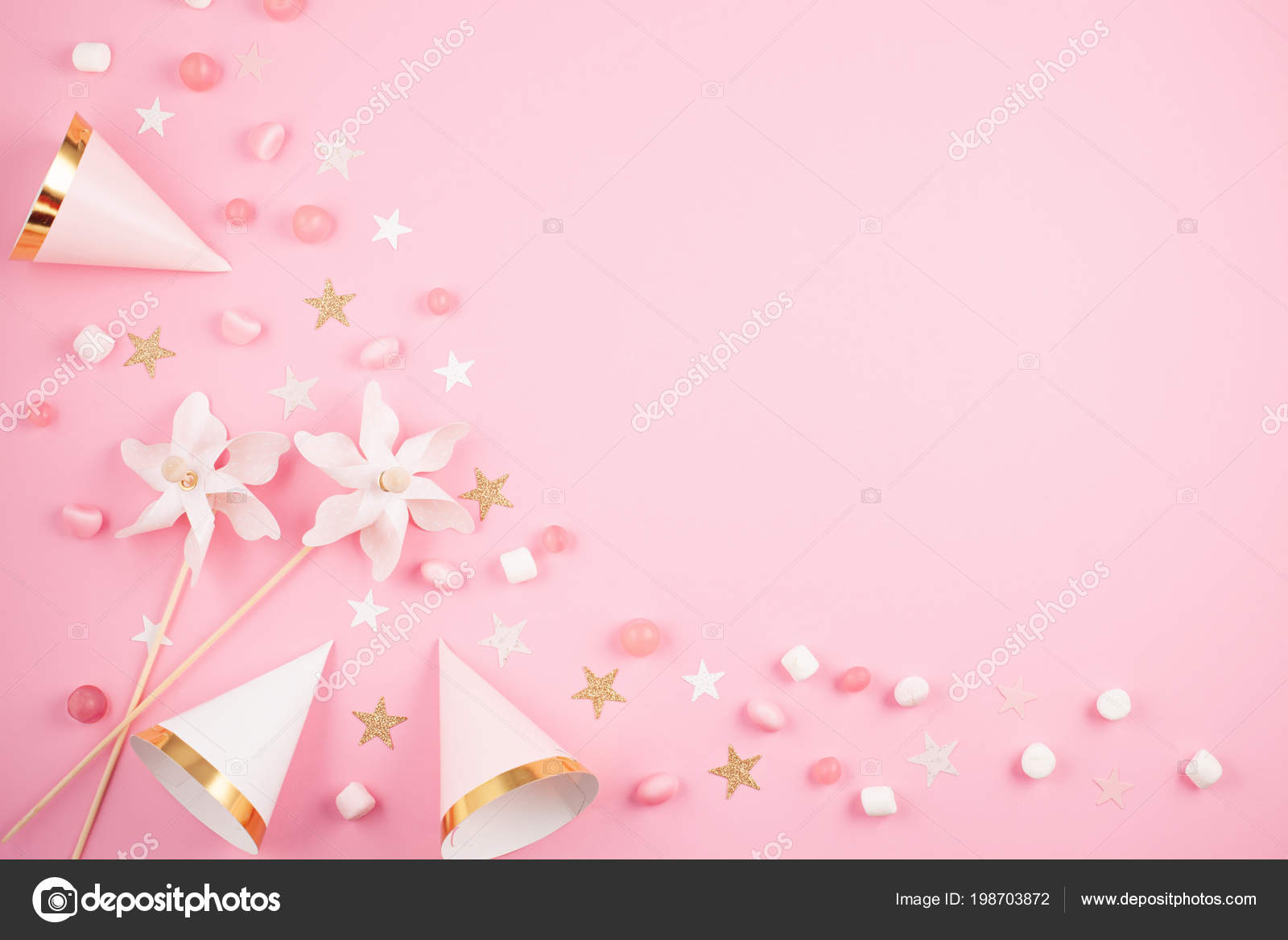 girls party accessories pink background invitation