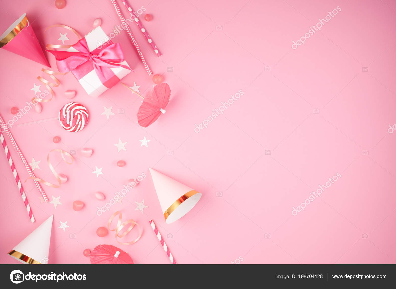 Girls Party Accessories Pink Background Invitation Birthday Bachelorette Baby Stock Photo