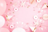 Fotografie Holky party doplňky růžové pozadí. Pozvánka narozeniny, Rozlučka, baby sprcha koncept