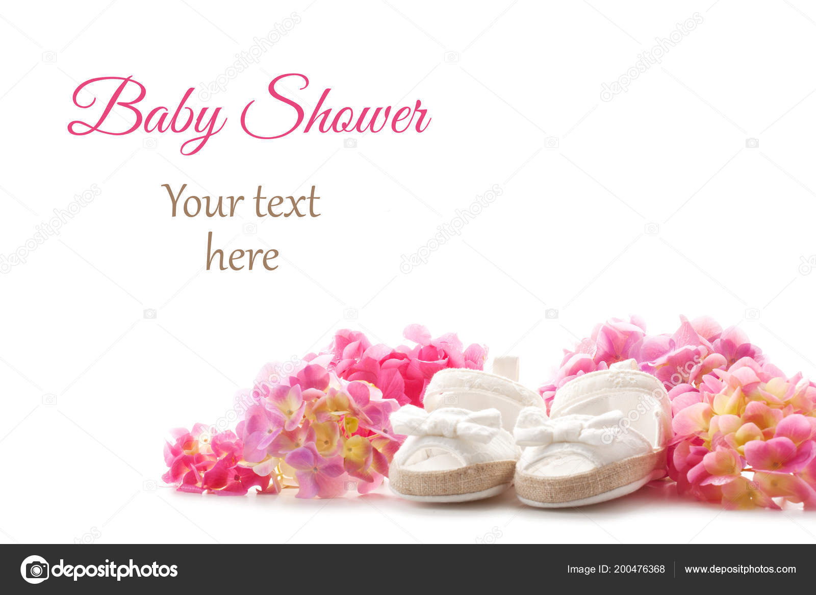 Cute newborn baby girl shoes hortensia flowers white background baby cute newborn baby girl shoes with hortensia flowers over the white background baby shower birthday invitation or greeting card mockup foto de netrun78 stopboris Image collections