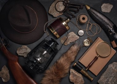 Flat lay with wild west vintage objects. Exploration, adventure concept. Top view