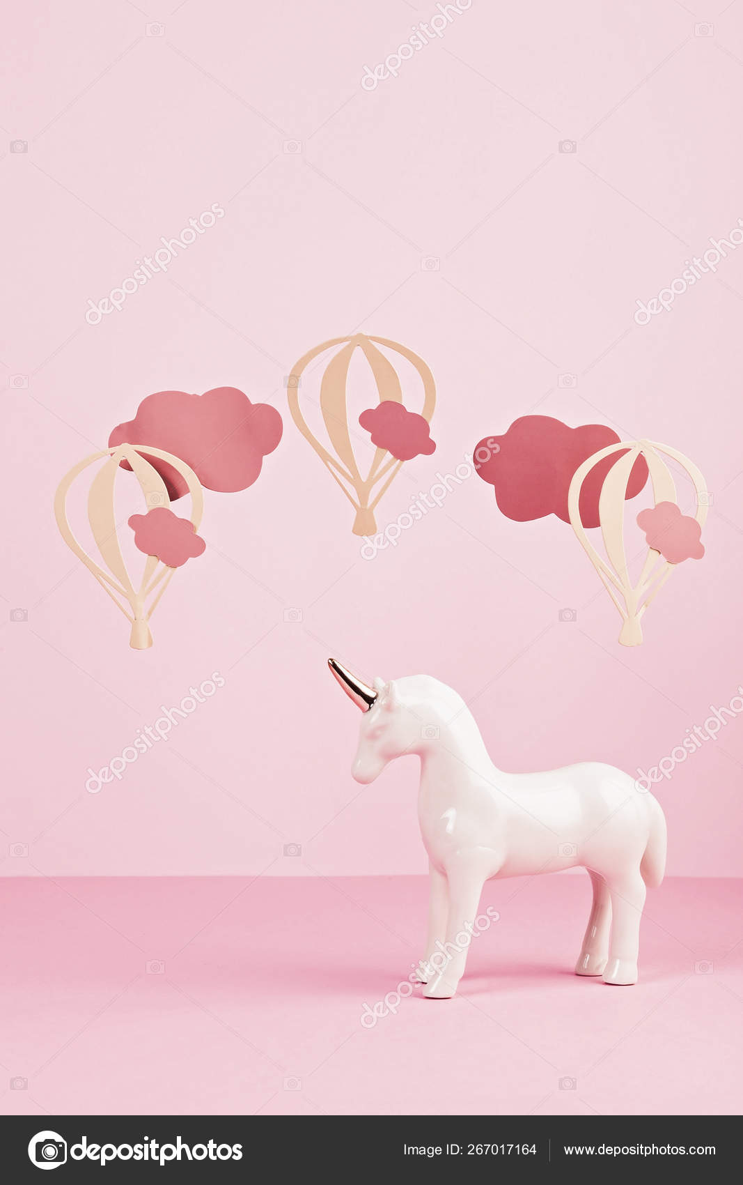 Cute White Unicorn Over The Pink Pastel Background With Clouds A